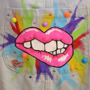 sz 10 one of kind overalls with popart design